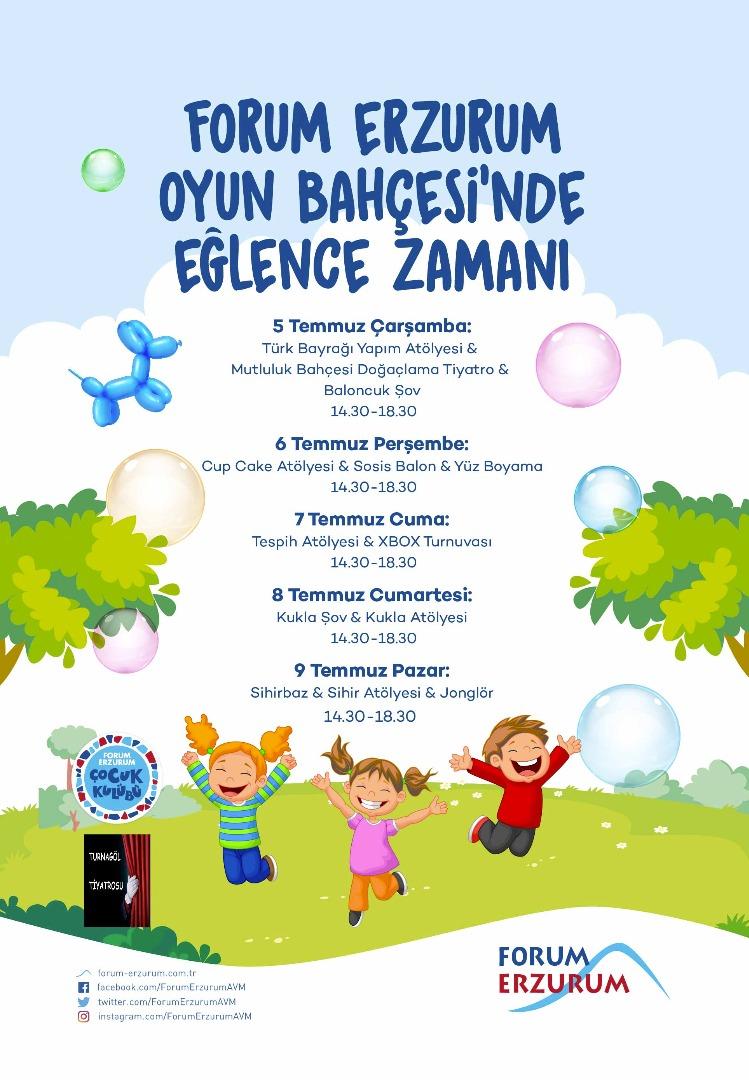 """Minikler tatilde Forum Erzurum """"Oyun Bahçesi""""nde buluşacak"""
