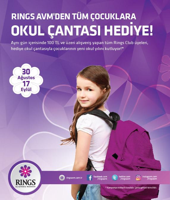 Rings AVM'den okul çantası hediye!