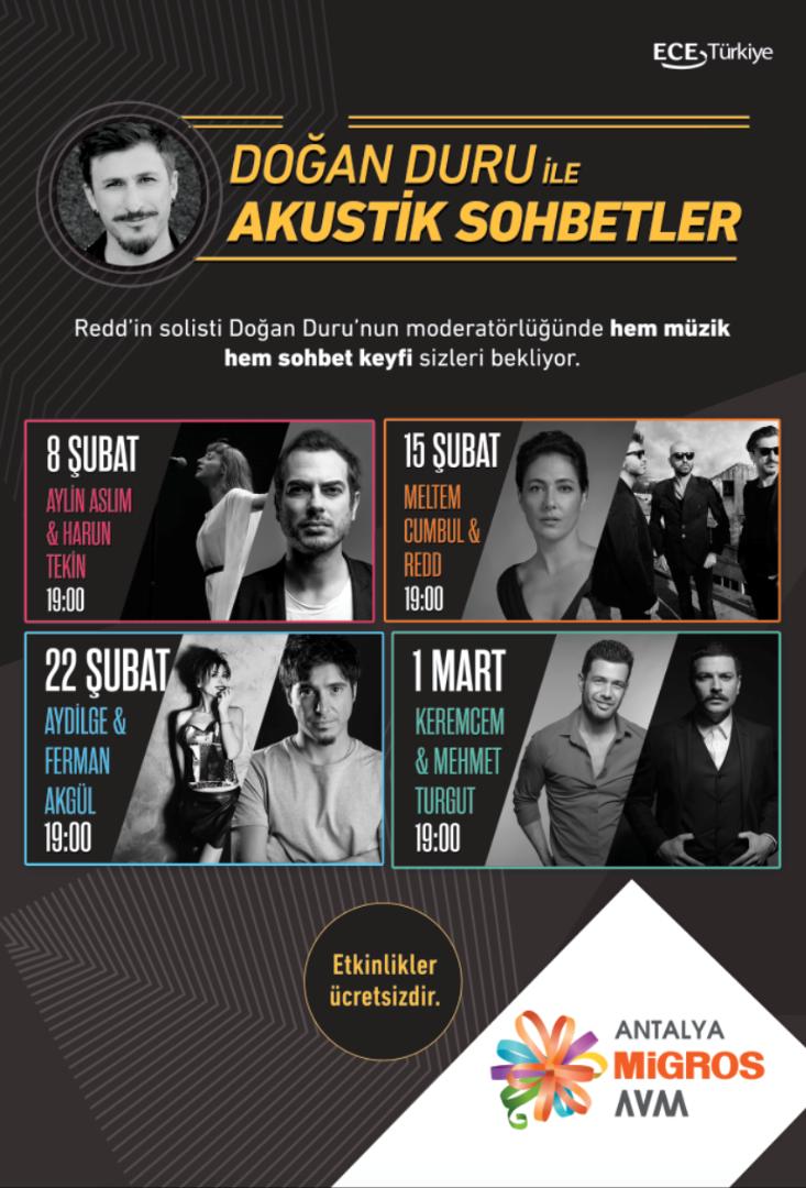 Şubat ayında akustik sohbetlerin adresi Antalya Migros AVM