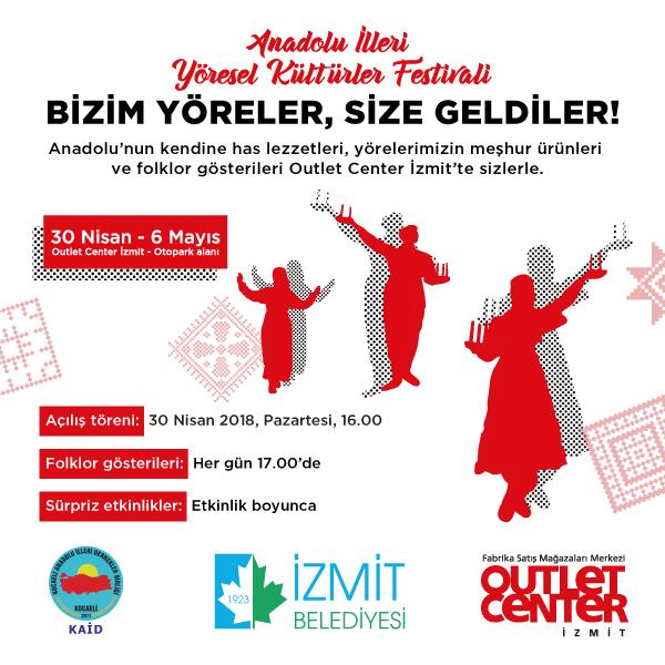 Anadolu İlleri Yöresel Kültürler Festivali Outlet Center İzmit'te