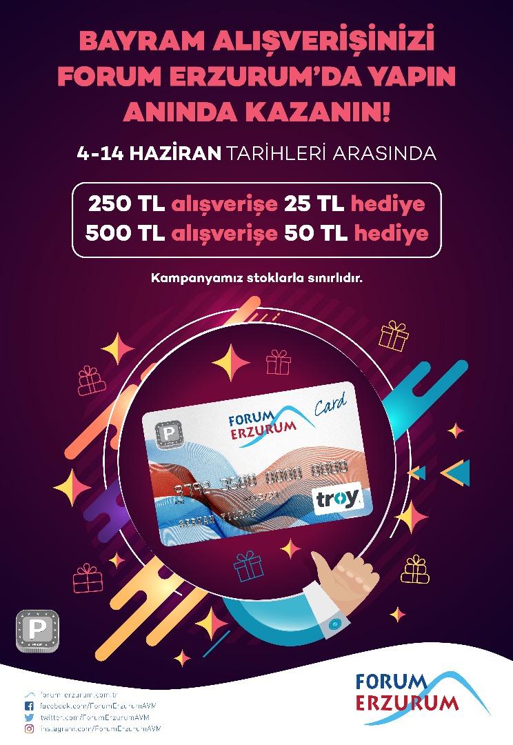 Forum Erzurum'da bayram alışverişleri anında kazandırıyor