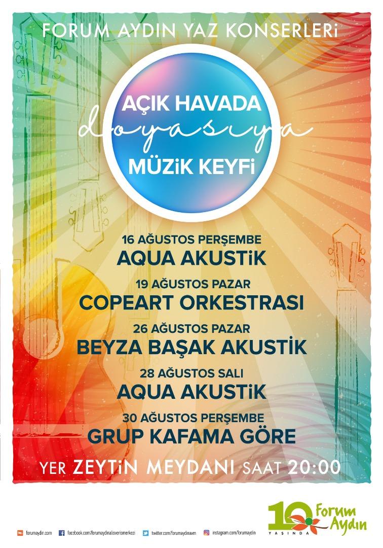 Yaz akşamlar Forum Aydın'da canlı performanslarla serinleyecek