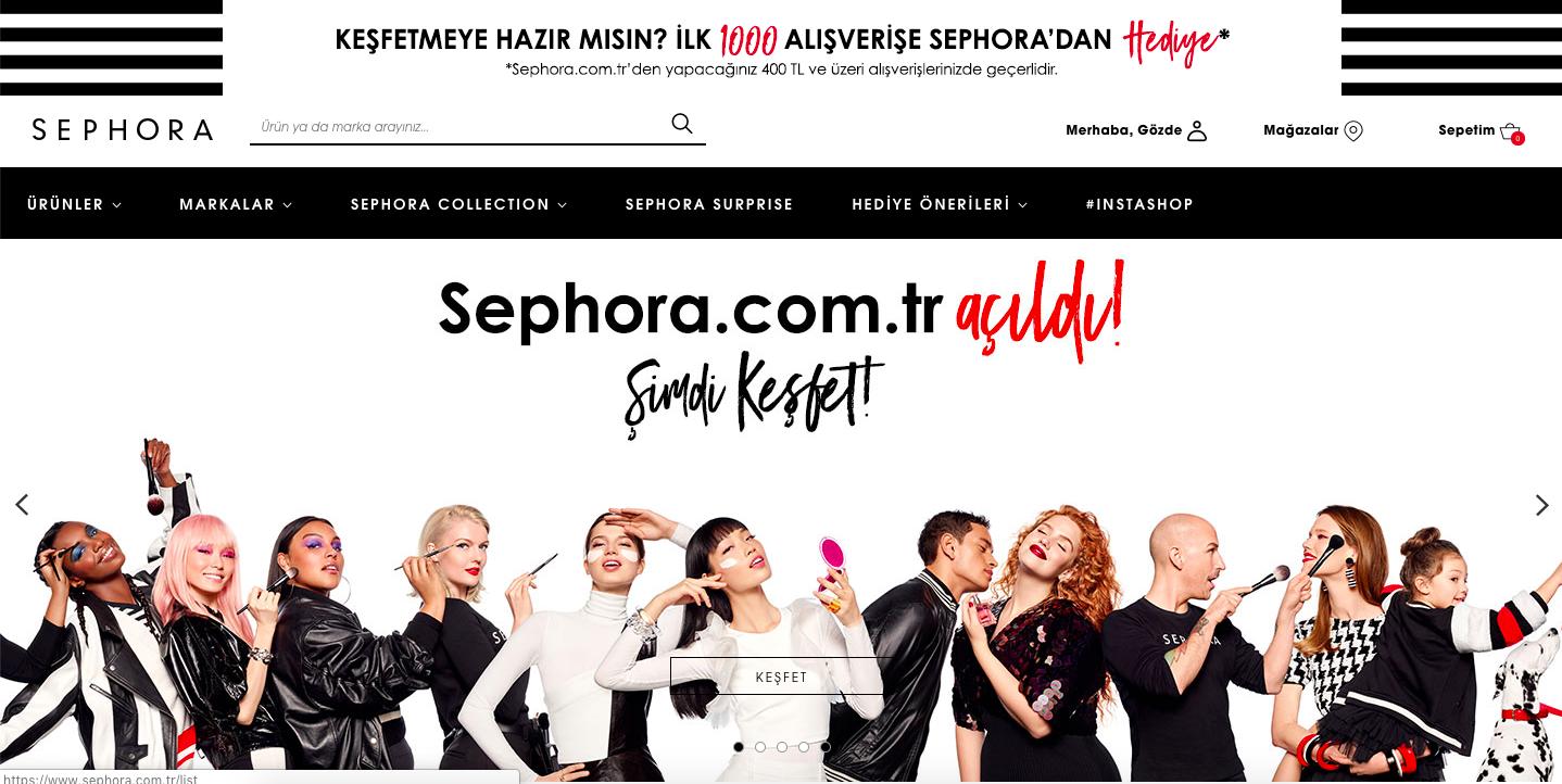 Sephora'nın online sitesi hizmete girdi