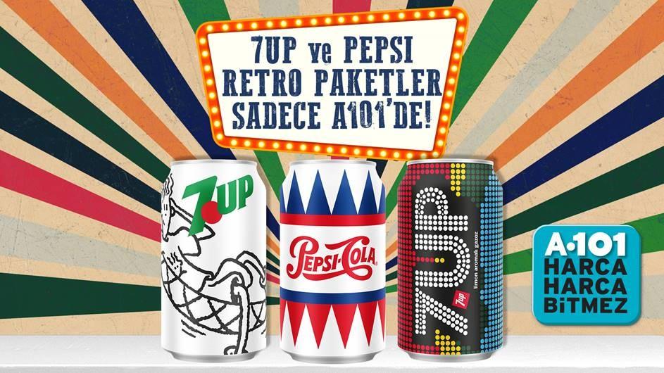 """7UP ve Pepsi """"Retro"""" paketleri A 101'de tüketicilerle buluştu!"""