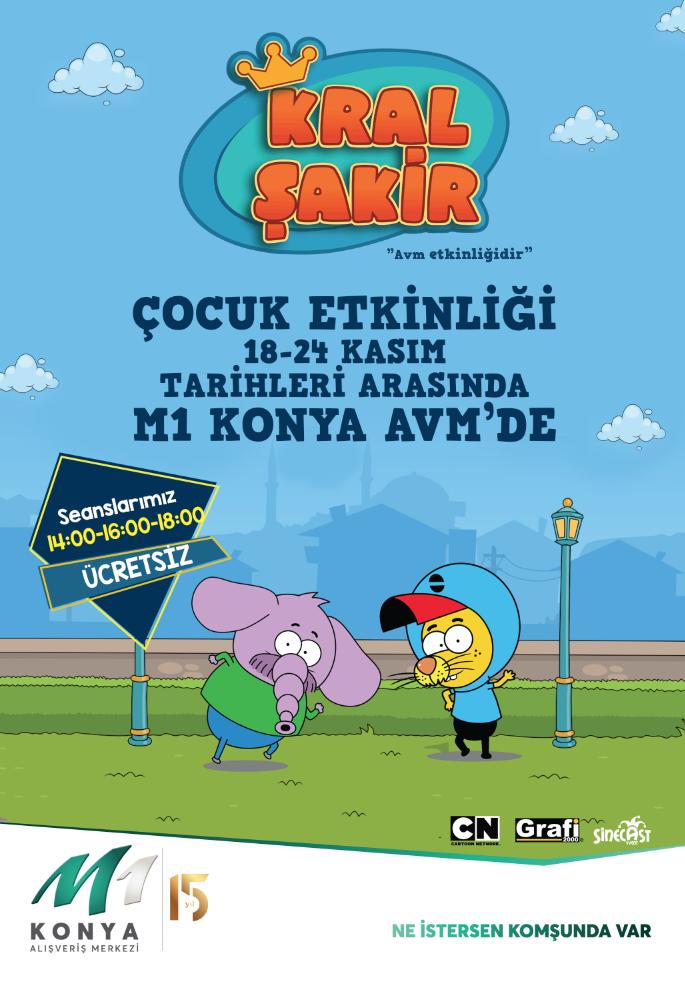 Çocukların çizgi dizi kahramanı Kral Şakir M1 Konya AVM' de