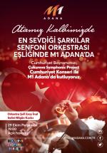 """""""Atatürk'ün sevdiği şarkılar """"29 Ekim'de M1 Adana AVM'de"""