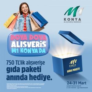 M1Konya AVM'den 750 TL ve üzeri alışverişe gıda paketi hediyesi