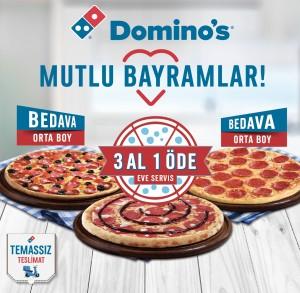 Domino's'tan 1 Orta Boy fiyatına 3 Orta Boy pizza kampanyası