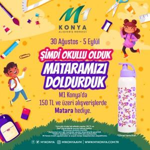M1Konya AVM, 150 TL ve üzeri alışverişlerde matara hediye ediyor