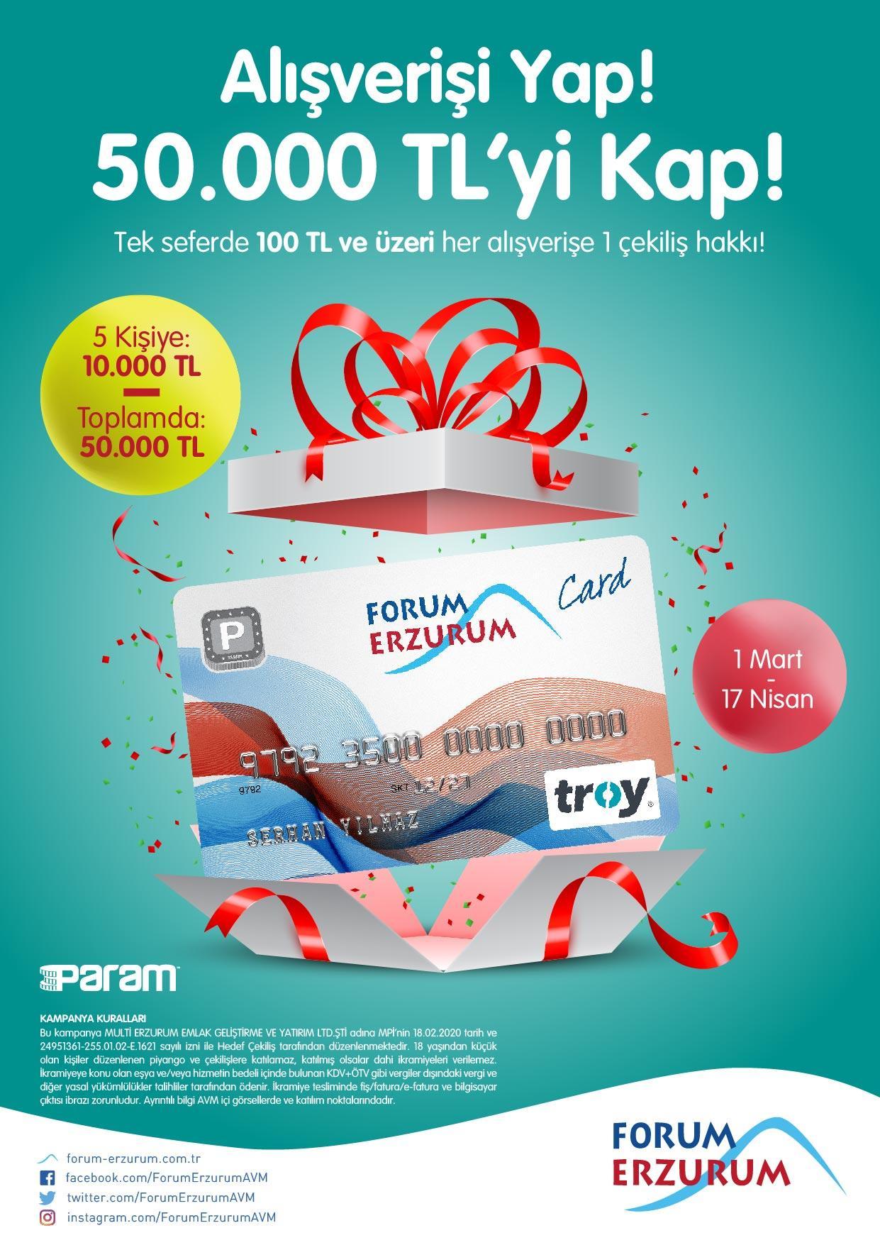 Forum Erzurum'da alışveriş kazandırıyor