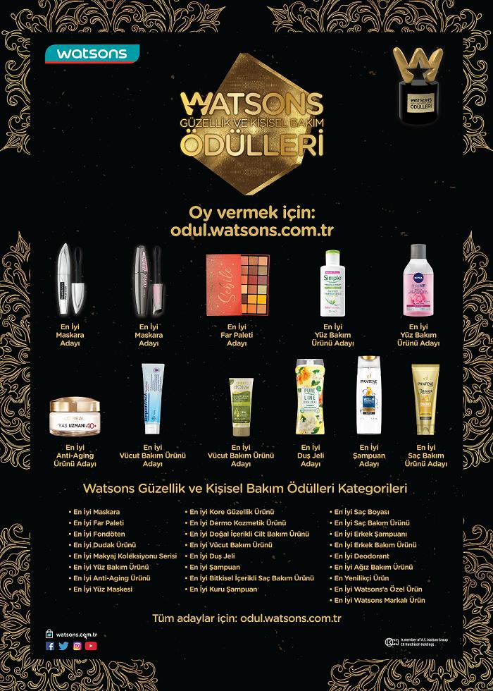 6. Watsons Güzellik ve Kişisel Bakım Ödülleri oylaması başladı