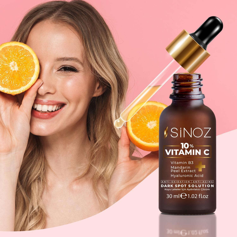Sinoz C Vitamini serum ile ciltte ışıltılı etki