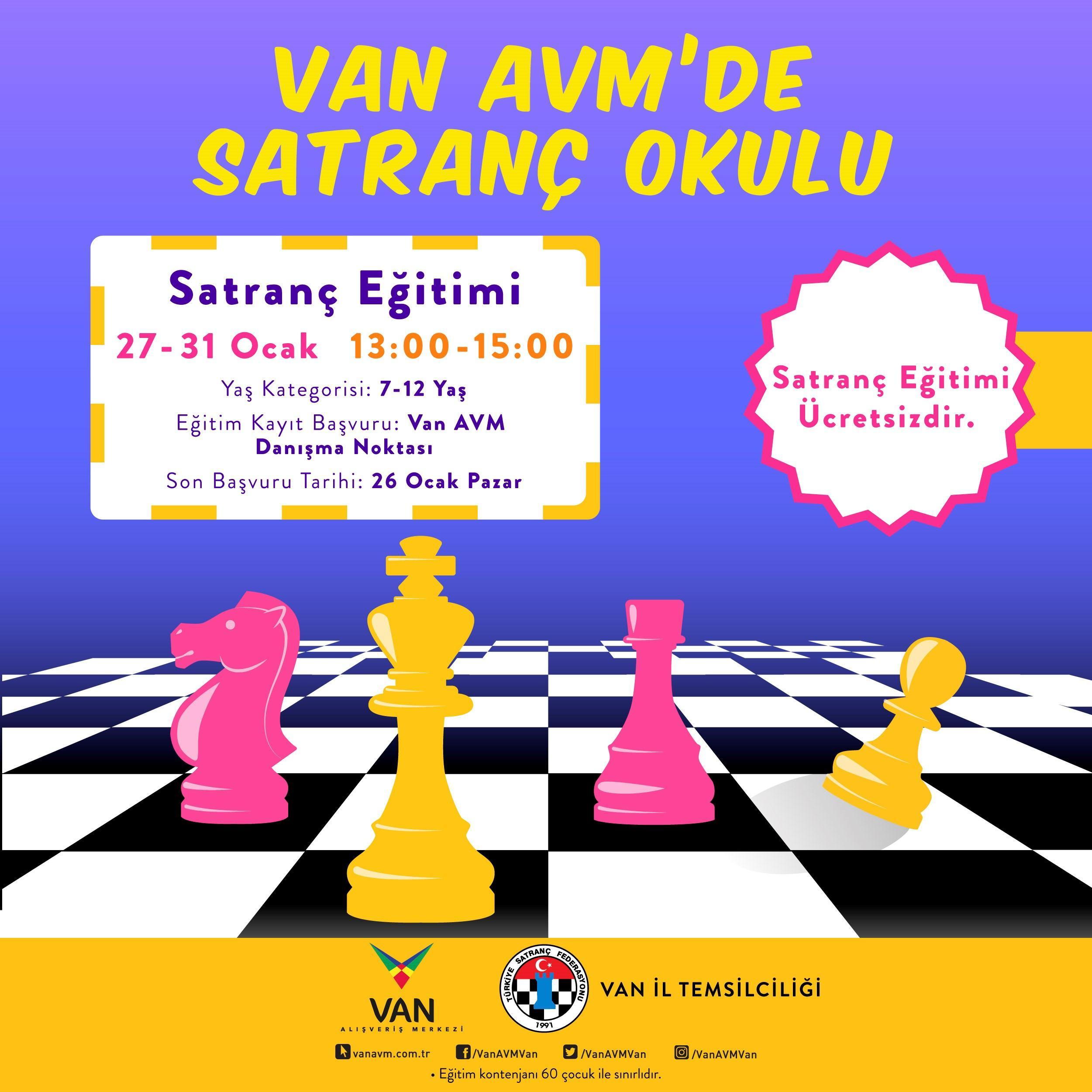 Çocuklara özel satranç eğitimi Van AVM'de
