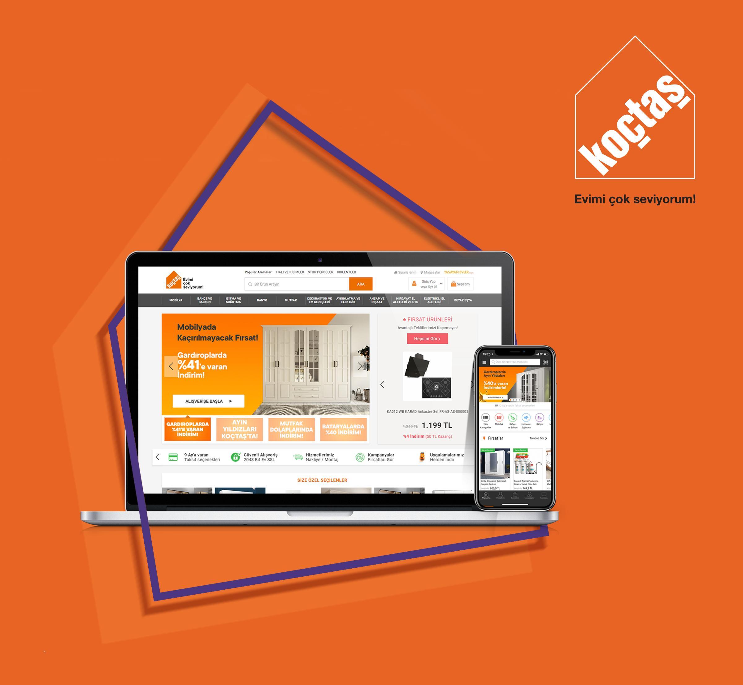 Online mağazası ve mobil uygulaması ile Koçtaş 7/24 yanınızda